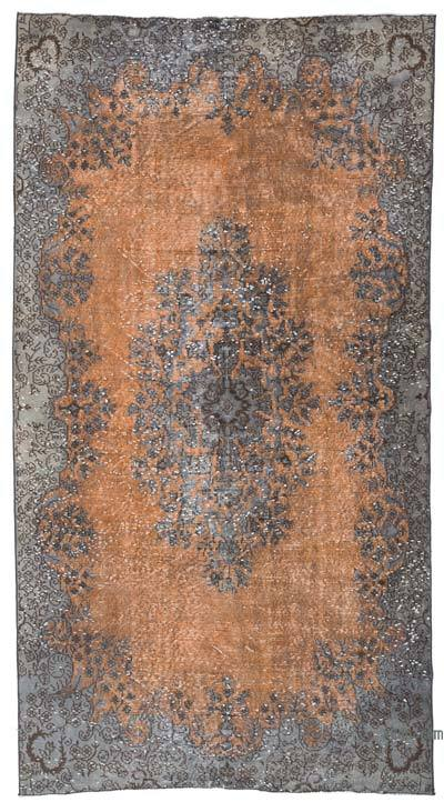 """Grey, Orange Hand Carved Over-Dyed Rug - 5' 3"""" x 9' 11"""" (63 in. x 119 in.)"""