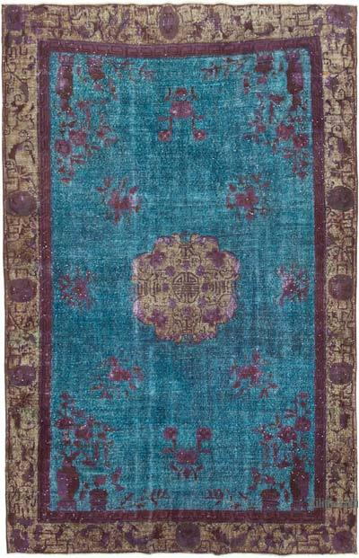 """Blue Hand Carved Over-Dyed Rug - 7'  x 10' 11"""" (84 in. x 131 in.)"""