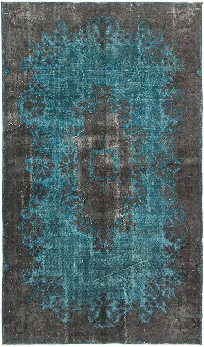 "Grey, Blue Hand Carved Over-Dyed Rug - 5' 1"" x 8' 8"" (61 in. x 104 in.)"