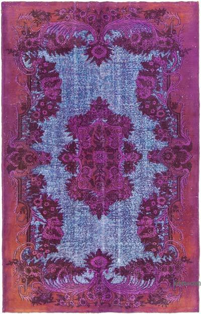 """Fuchsia, Purple Hand Carved Over-Dyed Rug - 5' 2"""" x 8'  (62 in. x 96 in.)"""