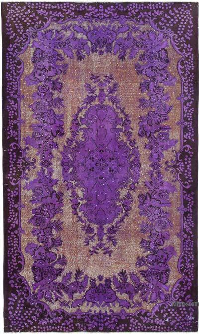 """Purple Hand Carved Over-Dyed Rug - 5' 9"""" x 9' 8"""" (69 in. x 116 in.)"""