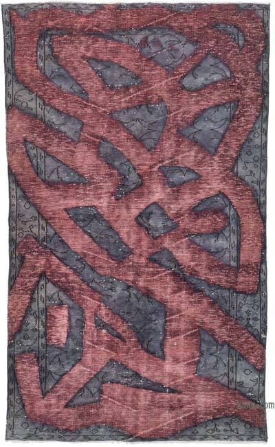 """Purple, Red Hand Carved Over-Dyed Rug - 5' 2"""" x 8' 8"""" (62 in. x 104 in.)"""