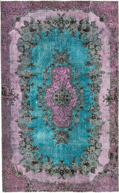 """Hand Carved Over-Dyed Rug - 5' 7"""" x 9'  (67 in. x 108 in.)"""