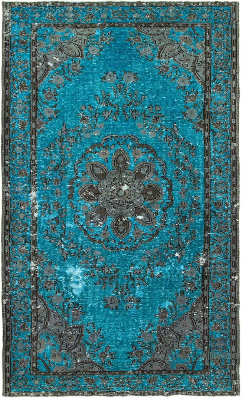 """Aqua, Grey Hand Carved Over-Dyed Rug - 6' 5"""" x 10' 7"""" (77 in. x 127 in.) - K0051637"""