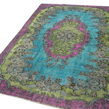 Hand Carved Over-Dyed Rug - 5' 5# x 8' 9# (65 in. x 105 in.) - K0051647