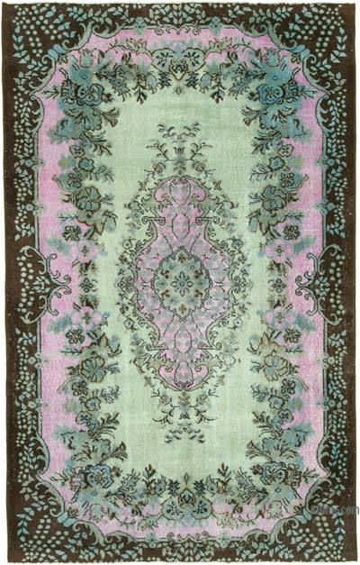 """Green, Pink Hand Carved Over-Dyed Rug - 5' 9"""" x 9' 1"""" (69 in. x 109 in.)"""