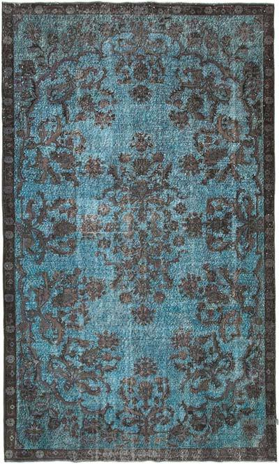 "Blue, Brown Hand Carved Over-Dyed Rug - 6' 5"" x 10' 9"" (77 in. x 129 in.)"