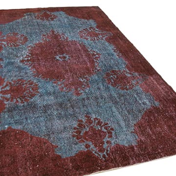 """Red Hand Carved Over-Dyed Rug - 5' 8"""" x 9' 6"""" (68 in. x 114 in.) - K0051656"""