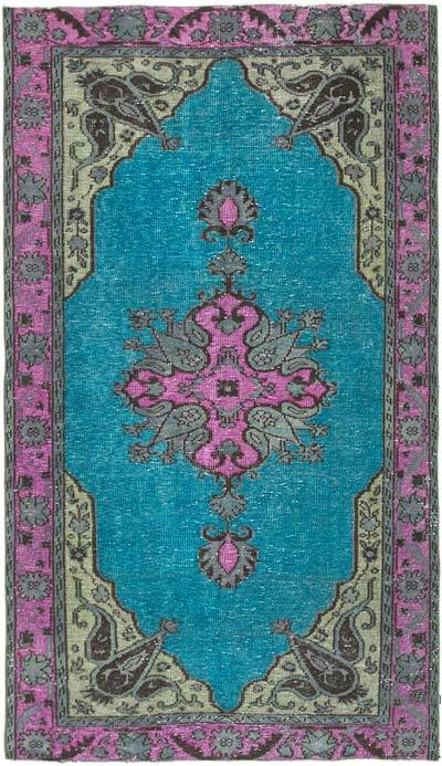 "Fuchsia, Aqua Hand Carved Over-Dyed Rug - 5'  x 8' 8"" (60 in. x 104 in.)"