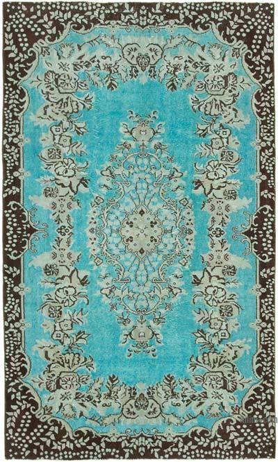 """Aqua Hand Carved Over-Dyed Rug - 5' 7"""" x 9' 4"""" (67 in. x 112 in.)"""