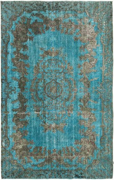 """Aqua, Grey Hand Carved Over-Dyed Rug - 6' 2"""" x 9' 11"""" (74 in. x 119 in.)"""