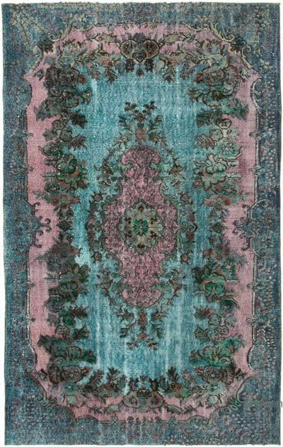 Lacivert, Pembe El Oyması Boyalı Halı - 170 cm x 272 cm - 170 cm x 272 cm