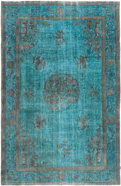 """Aqua Hand Carved Over-Dyed Rug - 6' 8"""" x 10' 4"""" (80 in. x 124 in.)"""