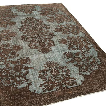 """Brown Hand Carved Over-Dyed Rug - 6' 3"""" x 9' 4"""" (75 in. x 112 in.) - K0051681"""