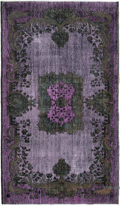 """Purple Hand Carved Over-Dyed Rug - 5' 9"""" x 9' 10"""" (69 in. x 118 in.)"""