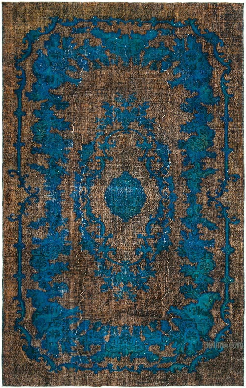 Brown, Blue Hand Carved Over-Dyed Rug - 6' 4# x 10' 1# (76 in. x 121 in.) - K0051691