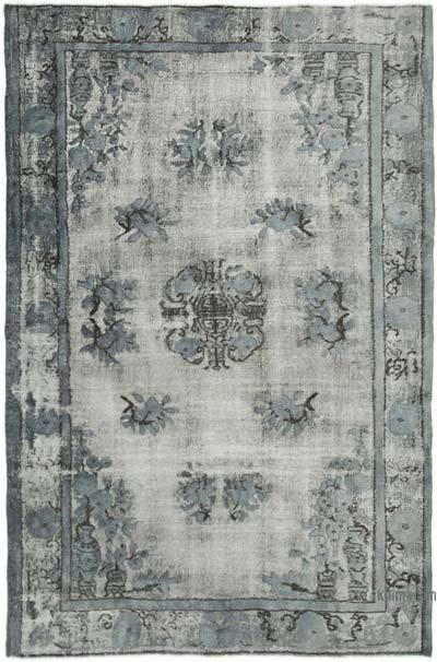 "Grey Hand Carved Over-Dyed Rug - 5' 8"" x 8' 8"" (68 in. x 104 in.)"