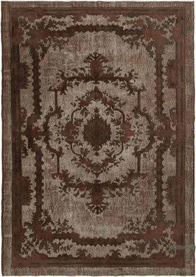 "Brown Hand Carved Over-Dyed Rug - 7' 1"" x 10' 2"" (85 in. x 122 in.)"
