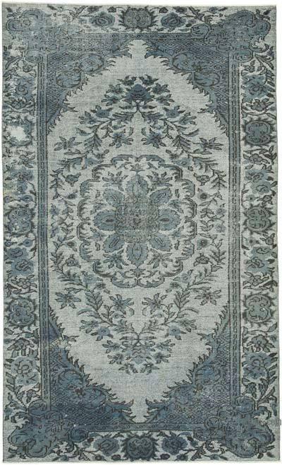 """Grey Hand Carved Over-Dyed Rug - 5' 11"""" x 9' 6"""" (71 in. x 114 in.)"""