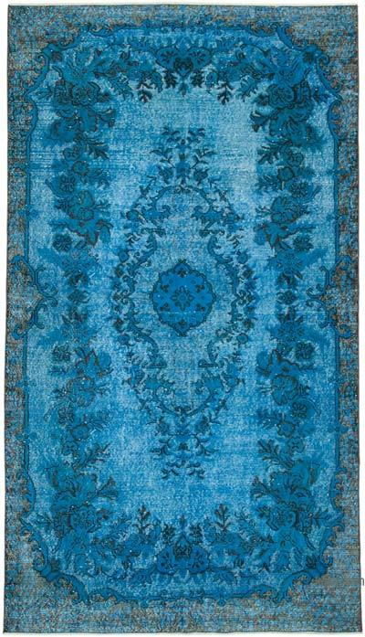 """Blue Hand Carved Over-Dyed Rug - 5' 7"""" x 9' 11"""" (67 in. x 119 in.)"""