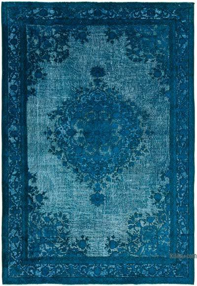 """Aqua Hand Carved Over-Dyed Rug - 6' 9"""" x 10' 1"""" (81 in. x 121 in.)"""