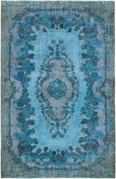 """Blue Hand Carved Over-Dyed Rug - 6' 3"""" x 9' 9"""" (75 in. x 117 in.)"""