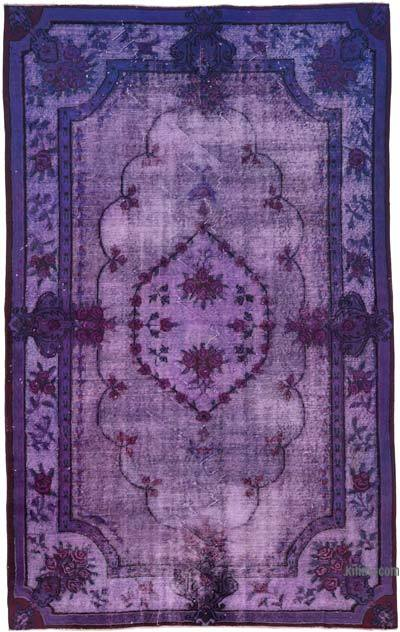 "Purple Hand Carved Over-Dyed Rug - 5' 7"" x 8' 10"" (67 in. x 106 in.)"