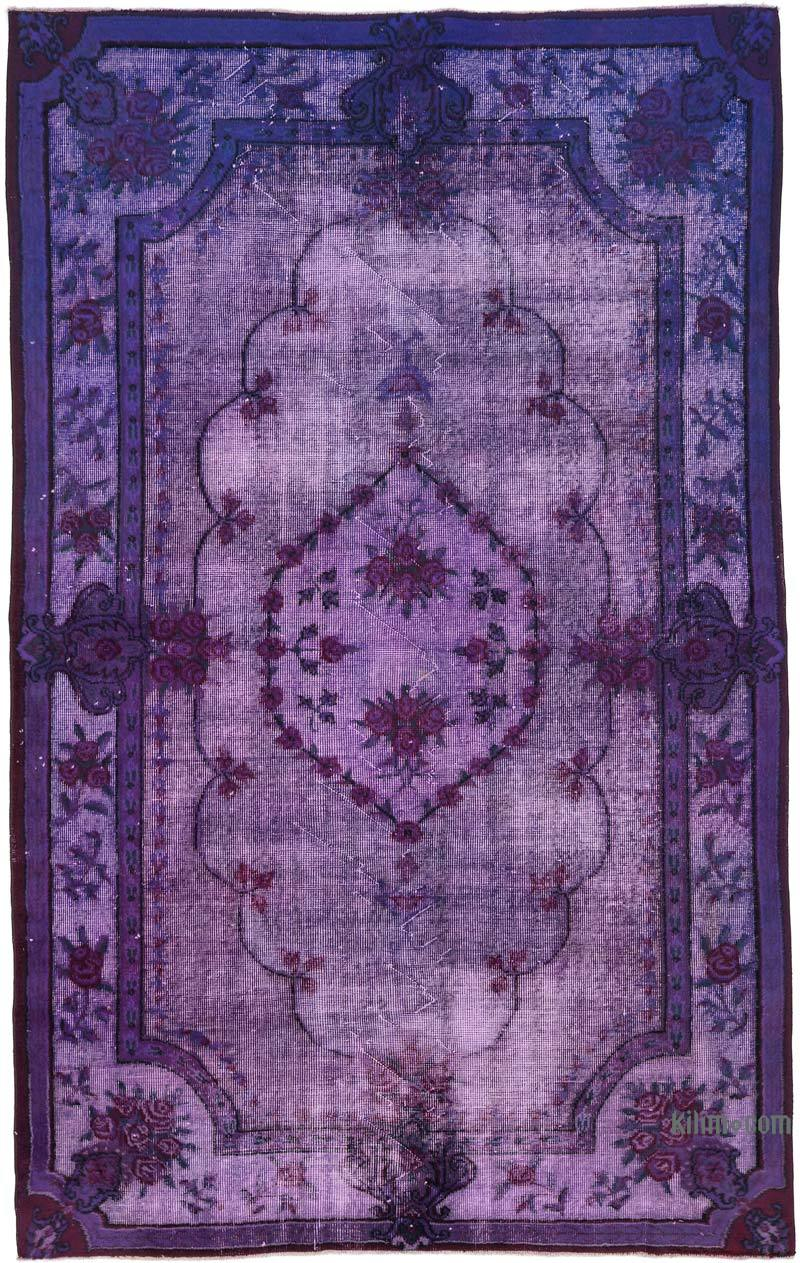 """Purple Hand Carved Over-Dyed Rug - 5' 7"""" x 8' 10"""" (67 in. x 106 in.) - K0051721"""