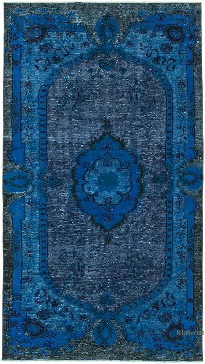 "Blue Hand Carved Over-Dyed Rug - 4' 11"" x 8' 8"" (59 in. x 104 in.)"