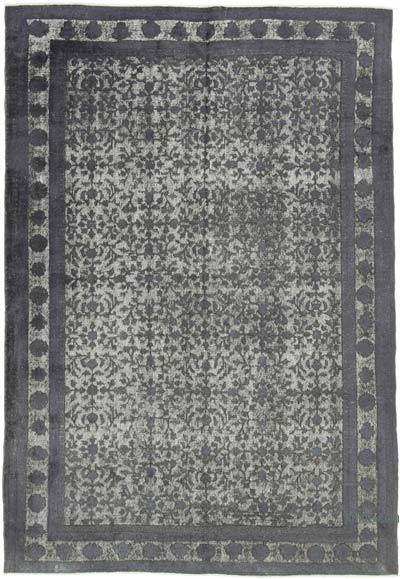 "Grey Hand Carved Over-Dyed Rug - 6' 11"" x 10' 1"" (83 in. x 121 in.)"