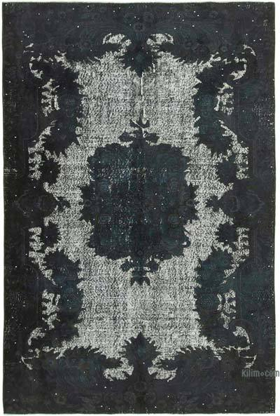 """Black Hand Carved Over-Dyed Rug - 5' 10"""" x 8' 9"""" (70 in. x 105 in.)"""
