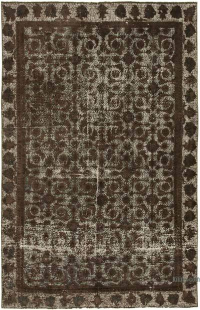 """Brown Hand Carved Over-Dyed Rug - 6' 6"""" x 10'  (78 in. x 120 in.)"""
