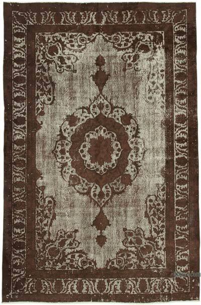 "Brown Hand Carved Over-Dyed Rug - 6' 11"" x 10' 9"" (83 in. x 129 in.)"