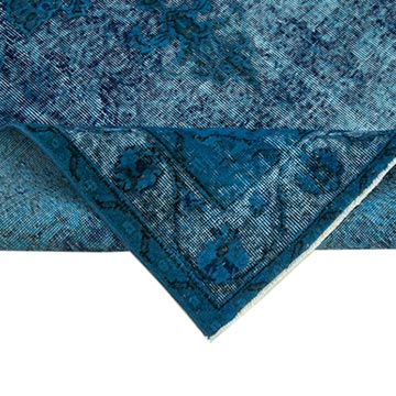 Aqua Hand Carved Over-Dyed Rug - 5' 4# x 8' 6# (64 in. x 102 in.) - K0051735