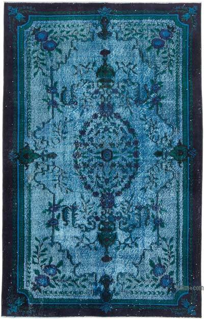 """Aqua Hand Carved Over-Dyed Rug - 5' 3"""" x 8' 3"""" (63 in. x 99 in.)"""