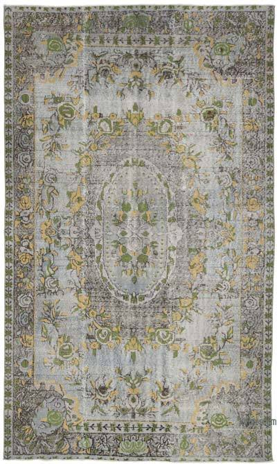 """Grey Hand Carved Over-Dyed Rug - 5' 10"""" x 9' 10"""" (70 in. x 118 in.)"""