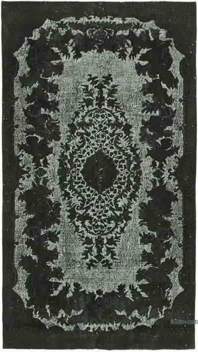 """Black Hand Carved Over-Dyed Rug - 5' 6"""" x 9' 10"""" (66 in. x 118 in.)"""