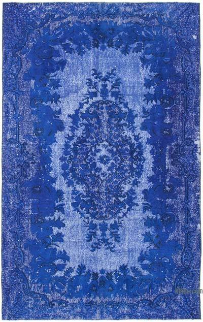 "Blue Hand Carved Over-Dyed Rug - 5' 9"" x 8' 11"" (69 in. x 107 in.)"