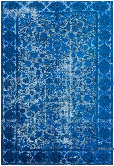 """Blue Hand Carved Over-Dyed Rug - 7' 1"""" x 10' 4"""" (85 in. x 124 in.)"""