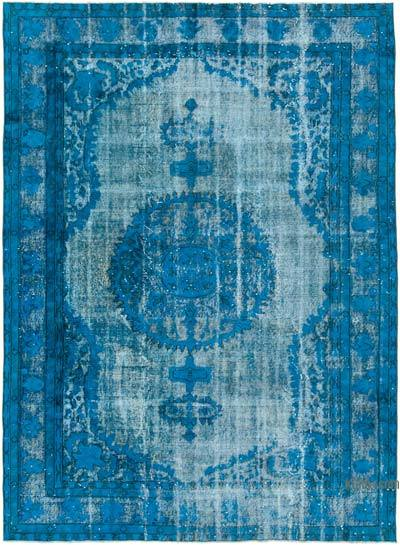 "Blue Hand Carved Over-Dyed Rug - 7' 3"" x 10'  (87 in. x 120 in.)"
