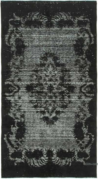 "Black Hand Carved Over-Dyed Rug - 4' 11"" x 9' 3"" (59 in. x 111 in.)"
