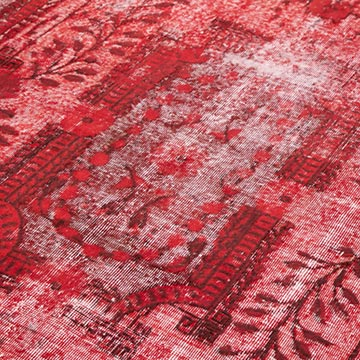 """Red Hand Carved Over-Dyed Rug - 6' 11"""" x 10' 8"""" (83 in. x 128 in.) - K0051745"""