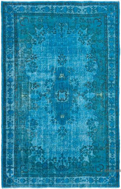 """Aqua Hand Carved Over-Dyed Rug - 6' 9"""" x 10' 10"""" (81 in. x 130 in.)"""