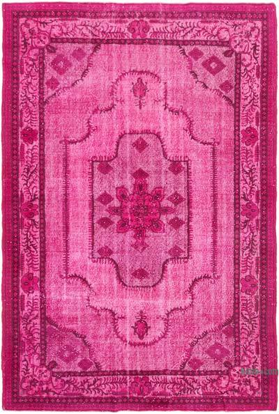 """Pink Hand Carved Over-Dyed Rug - 6' 11"""" x 10' 1"""" (83 in. x 121 in.)"""