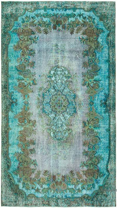 """Aqua Hand Carved Over-Dyed Rug - 5' 4"""" x 9' 5"""" (64 in. x 113 in.)"""