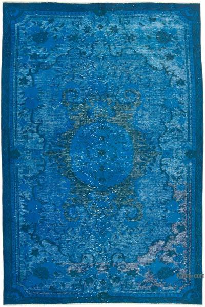 "Blue Hand Carved Over-Dyed Rug - 5' 10"" x 8' 9"" (70 in. x 105 in.)"