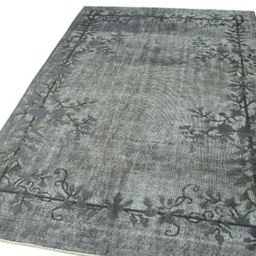 """Grey Hand Carved Over-Dyed Rug - 5' 2"""" x 8' 10"""" (62 in. x 106 in.) - K0051764"""