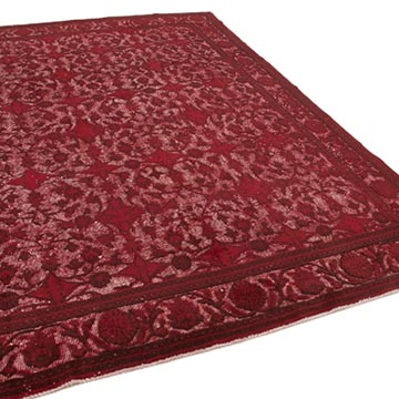"""Red Hand Carved Over-Dyed Rug - 7' 1"""" x 10' 2"""" (85 in. x 122 in.) - K0051769"""