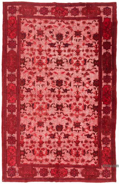 """Red Hand Carved Over-Dyed Rug - 7' 1"""" x 11' 1"""" (85 in. x 133 in.)"""