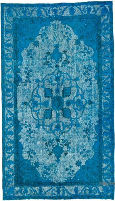 "Blue Hand Carved Over-Dyed Rug - 5'  x 8' 8"" (60 in. x 104 in.)"